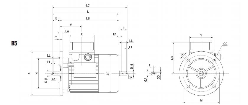 Основные размеры электродвигателей Motovario TS/TH/TP (исполнение с фланцем B5)