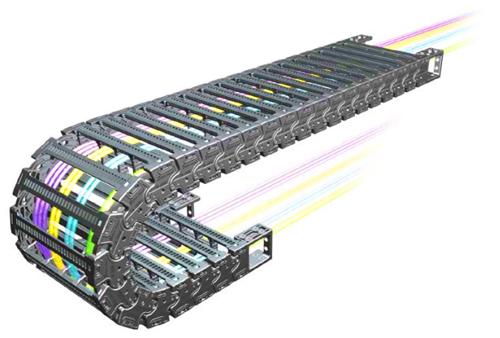 Секции гибких кабель каналов изгибаются во время движения