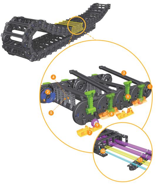 Конструкция и части кабель-канала (кабель-цепи)