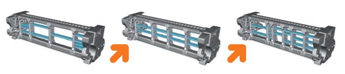Секции для прокладки проводников внутри гибких кабель-цепей собираются как конструктор
