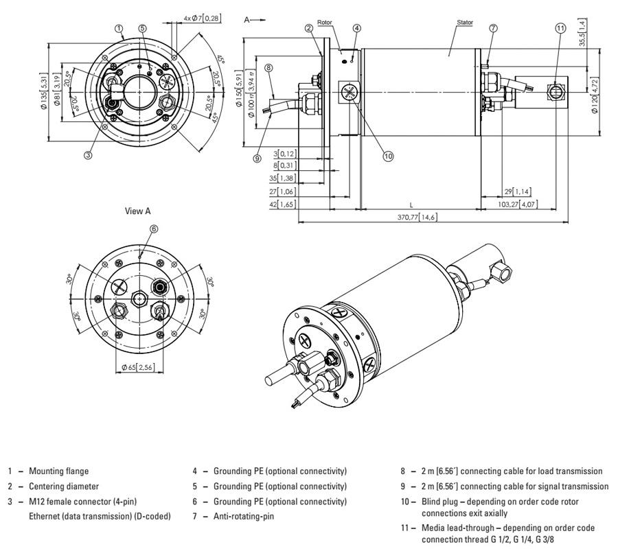 Техническая информация токосъемник Kuebler SR-120