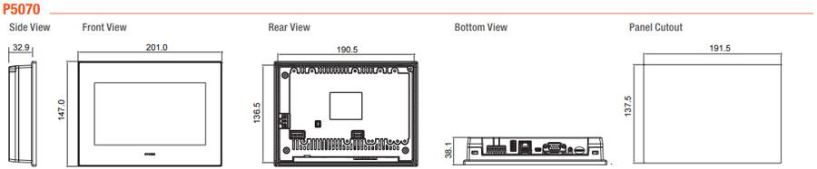 Размеры и габариты HMI-панелей P5070S, P5070N, P5070N1, P5070V
