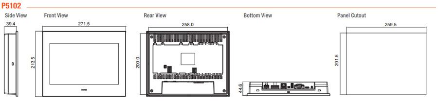 Размеры и габариты HMI-панелей P5102S, P5102N, P5102N1, P5102VS