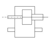 Редукторы с приставными лапами или плитой над уровнем плоскости основания корпуса (потолочная или стеновая установка редуктора)