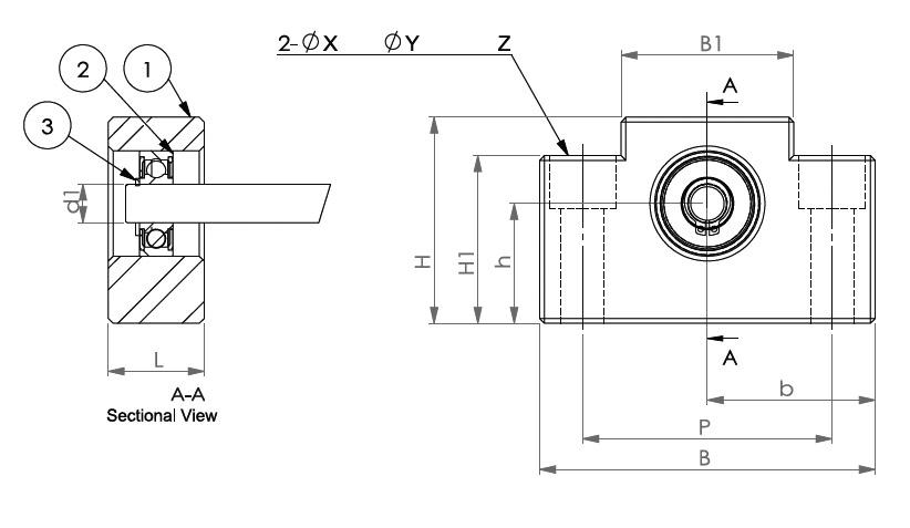 Подшипниковые опоры SBC серии AF - схема