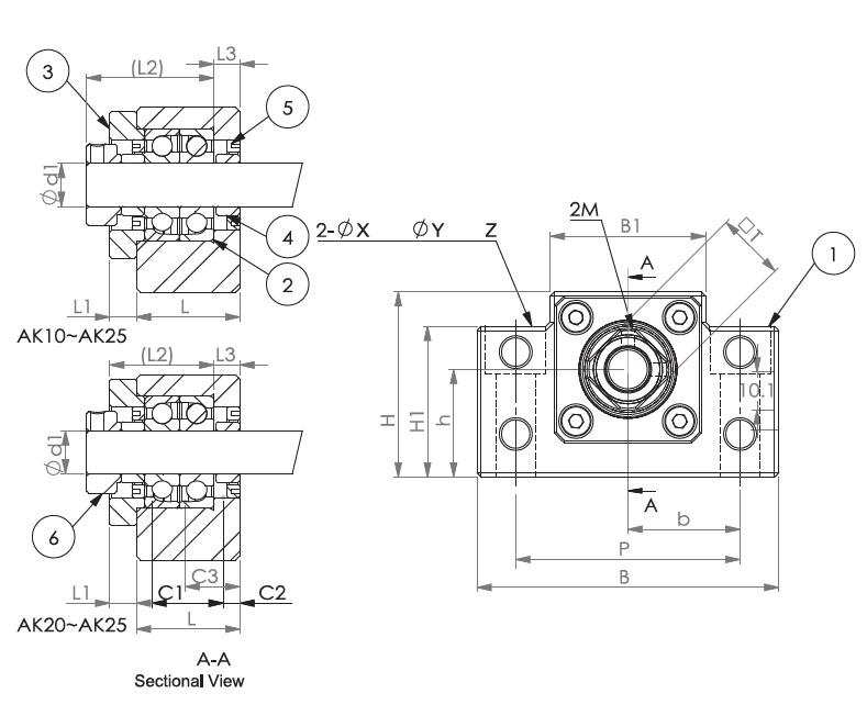 Подшипниковые опоры SBC серии AK - схема