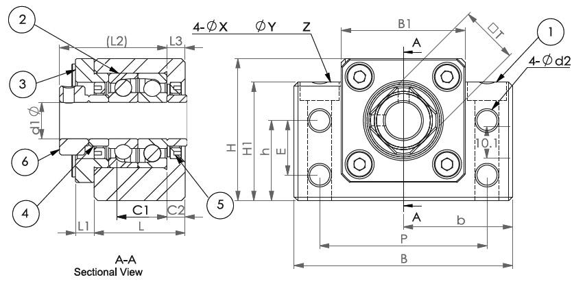Подшипниковые опоры SBC серии BK - схема