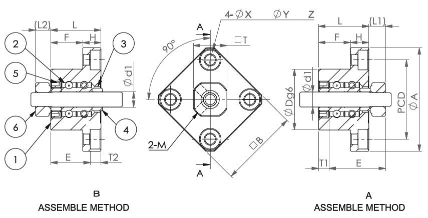 Подшипниковые опоры SBC серии FK 05 - 08 - схема
