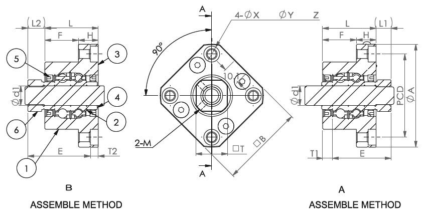 Подшипниковые опоры SBC серии FK 10 - 30 - схема