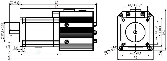 Сервоприводы серии xx23 - размеры и габариты