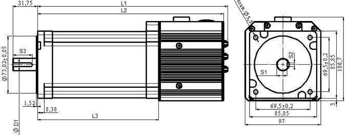 Сервоприводы серии xx34 - размеры и габариты